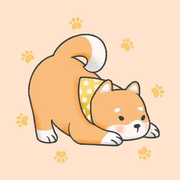 Shiba inu pies stylu cartoon ręcznie rysowane Premium Wektorów