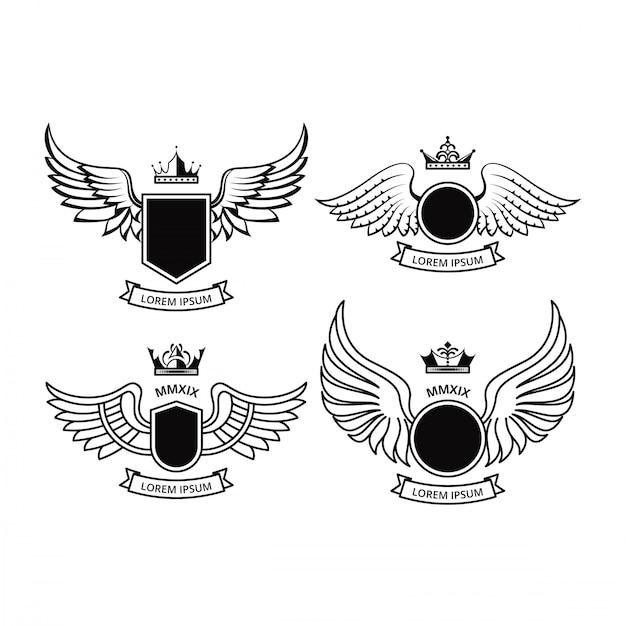 Shield design z wings vector collections Premium Wektorów