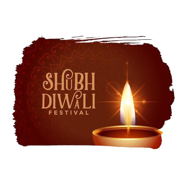 Shubh Diwali Tło Z Błyszczącym Wzorem Diya Darmowych Wektorów