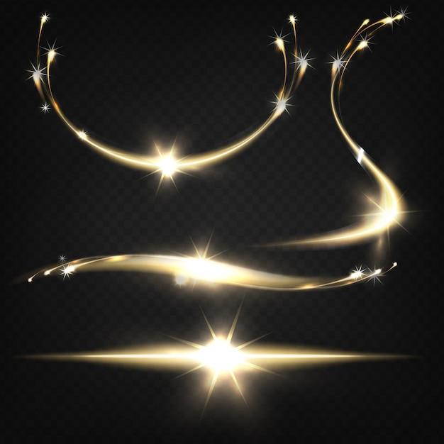 Shying sparkles lub płonące cząsteczki wylatujące z jasnego światła pękają z lekkimi śladami Darmowych Wektorów