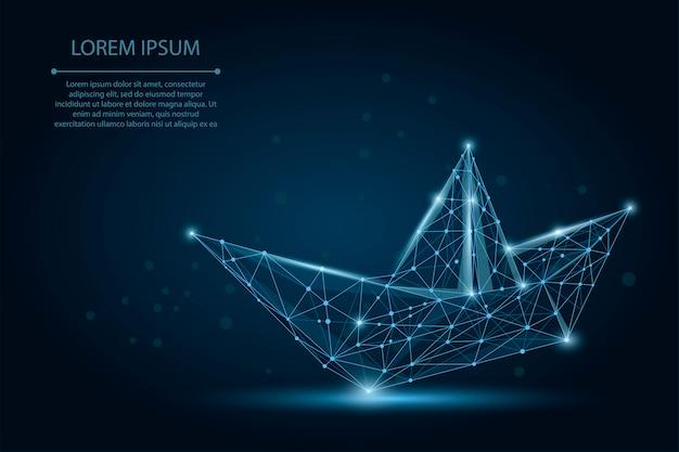 Siatka wielokątna łódź origami z kropek Premium Wektorów