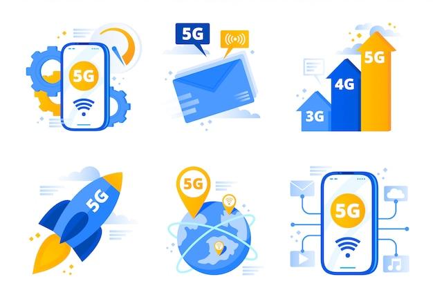 Sieć 5g. Telekomunikacja Piątej Generacji, Szybkie Połączenie Z Internetem I Sieci O Niskim Opóźnieniu Wektor Zestaw Ilustracji Premium Wektorów