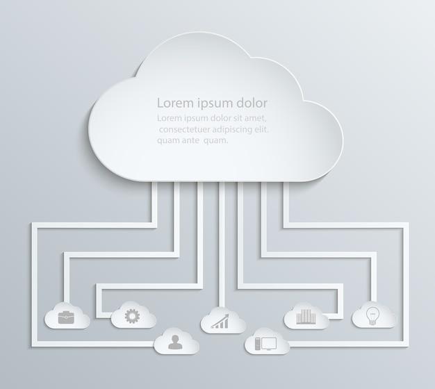 Sieć Chmurowa Z Ikonami, Papierowe Infografiki Ekonomiczne Premium Wektorów