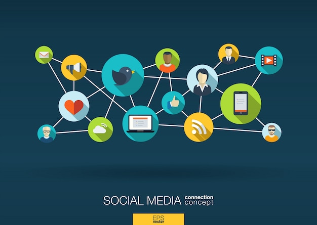 Sieć Mediów Społecznościowych. Tło Wzrostu Z Liniami, Okręgami I Ikonami Integracji. Połączone Symbole Dla Cyfrowych, Interaktywnych, Rynkowych, łączących, Komunikujących Się, Globalnych Koncepcji. Ilustracja Premium Wektorów