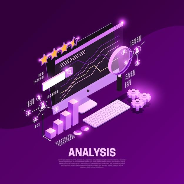 Sieci Seo Isometric Skład Z Zadowolonymi Analiza Symbolami Ilustracyjnymi Darmowych Wektorów