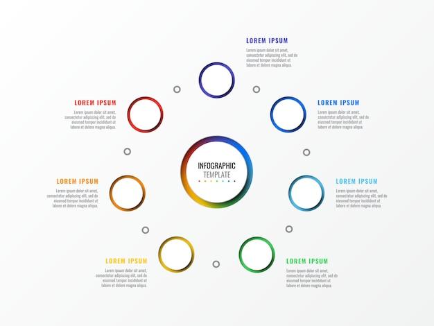 Siedem kroków projektowania układu plansza szablon z okrągłymi 3d realistycznych elementów Premium Wektorów