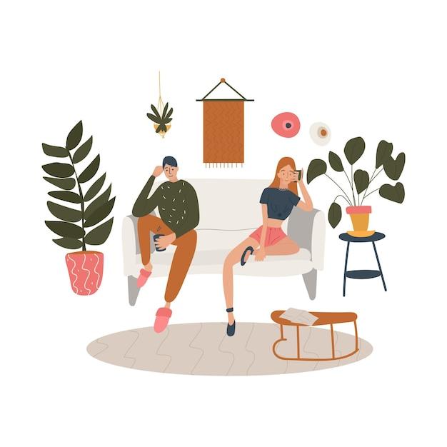 Siedząca Para W Salonie Ozdobionym Roślinami I Domowymi Meblami. Premium Wektorów