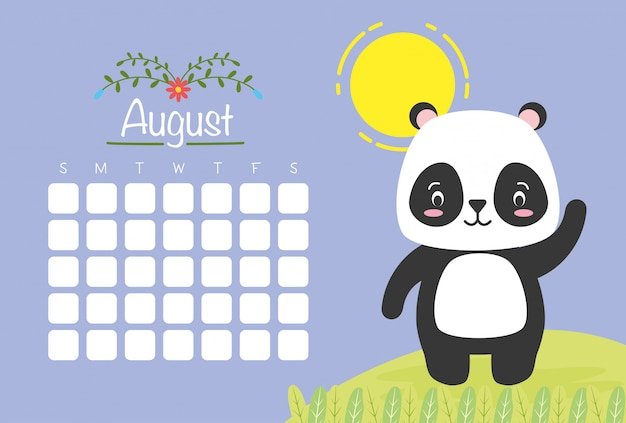 Sierpniowy Kalendarz Z Uroczą Pandą, Płaski Darmowych Wektorów