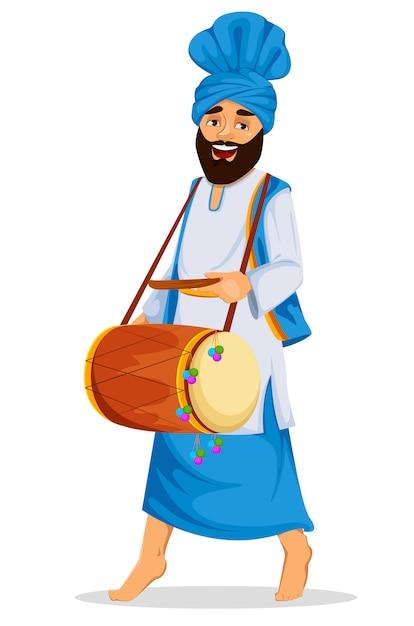 Sikh Z Ozdobnym Bębnem Premium Wektorów