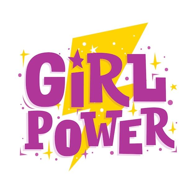 Siła dziewczyn. motywacja zabawny napis i błyskawica. hasło feminizmu. Premium Wektorów