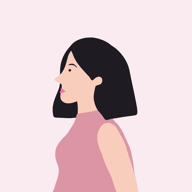 Silna azjatycka kobieta w profilowym wektorze Darmowych Wektorów