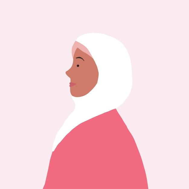 Silna muzułmańska kobieta w profilowym wektorze Darmowych Wektorów