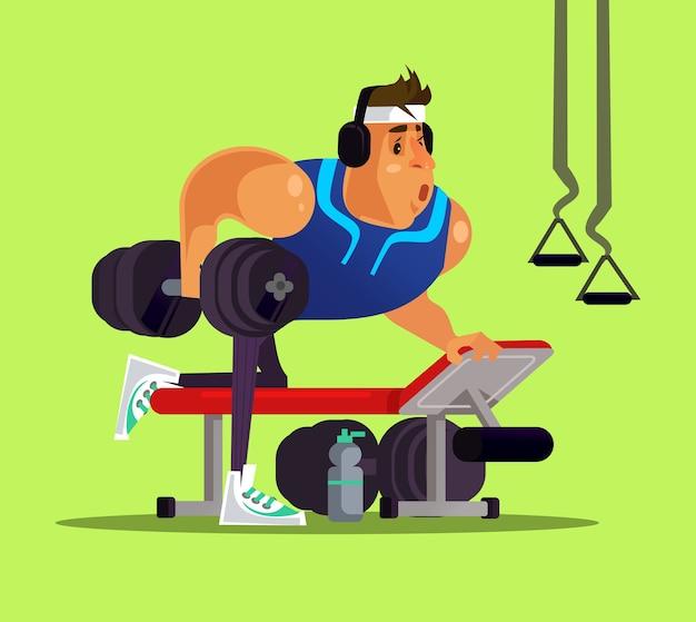 Silny Duży Sport Człowiek Robi ćwiczenia W Siłowni. Zdrowy Tryb życia Premium Wektorów