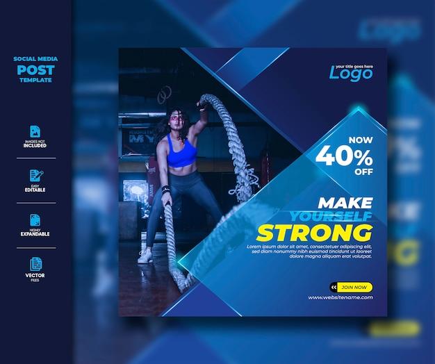Siłownia Fitness Social Media Post Square Szablon Transparent Premium Wektorów
