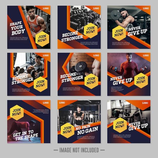 Siłownia fitness szablon mediów społecznościowych post Premium Wektorów