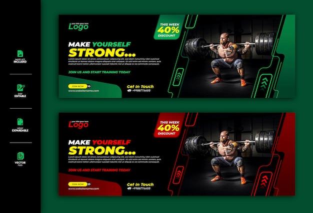 Siłownia I Fitness Social Media Banner Facebook Cover Szablon Premium Premium Wektorów