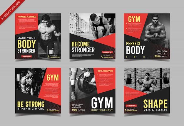Siłownia Sport Fitness Szablon Mediów Społecznościowych Post Premium Wektorów