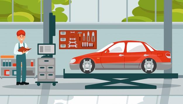 Simmechanic Samochodu Pracującego W Ilustracji Naprawy Samochodu Auto Serwis 3 Premium Wektorów