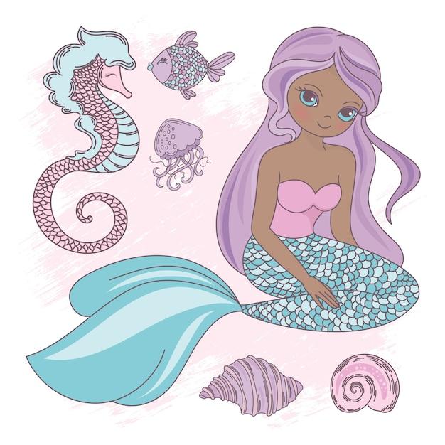 Sitting Mermaid Princess Sea Animal Premium Wektorów
