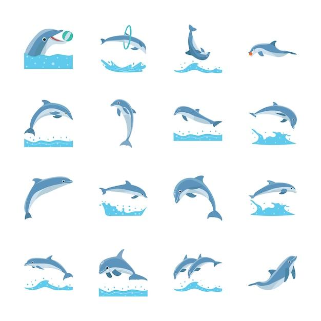 Skaczące Delfiny Ikony Premium Wektorów