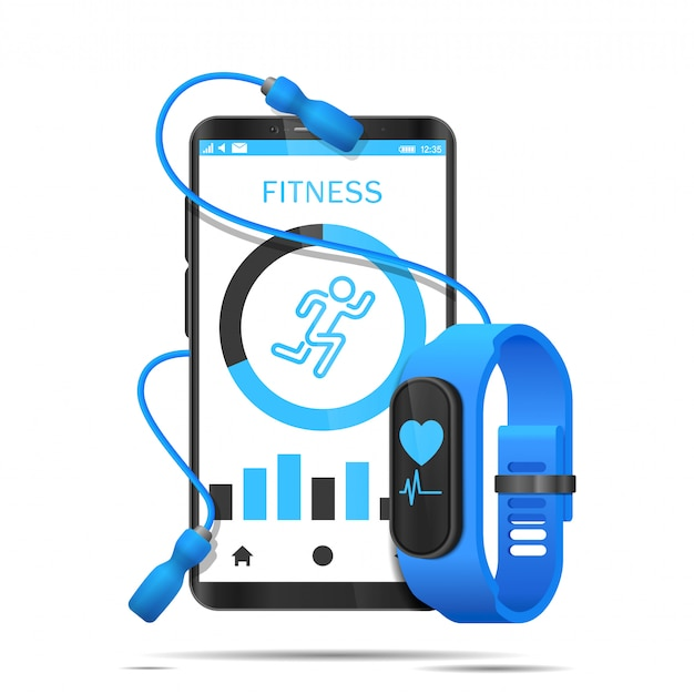 Skakanka Owija Się Wokół Smartfona, A Aplikacja I Zegarek Fitness Są Realistyczne Premium Wektorów