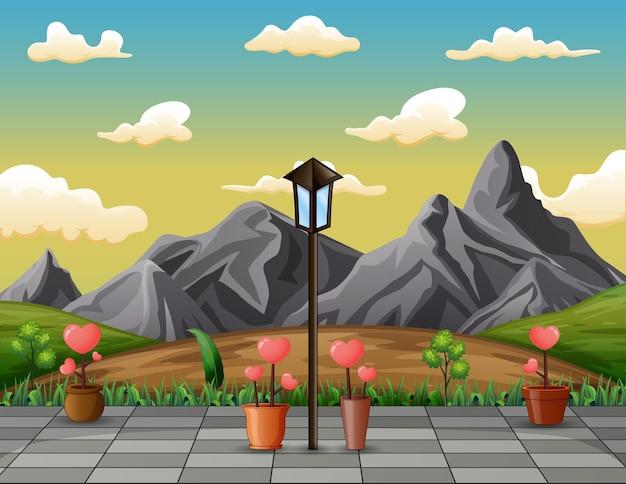 Skalisty Górski Krajobraz Z Kwiatami Miłości Premium Wektorów