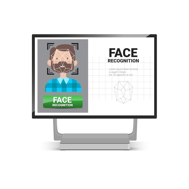 Skanowanie komputerowe użytkownik identyfikacja twarzy mężczyzna system kontroli dostępu koncepcja rozpoznania biometrycznego Premium Wektorów