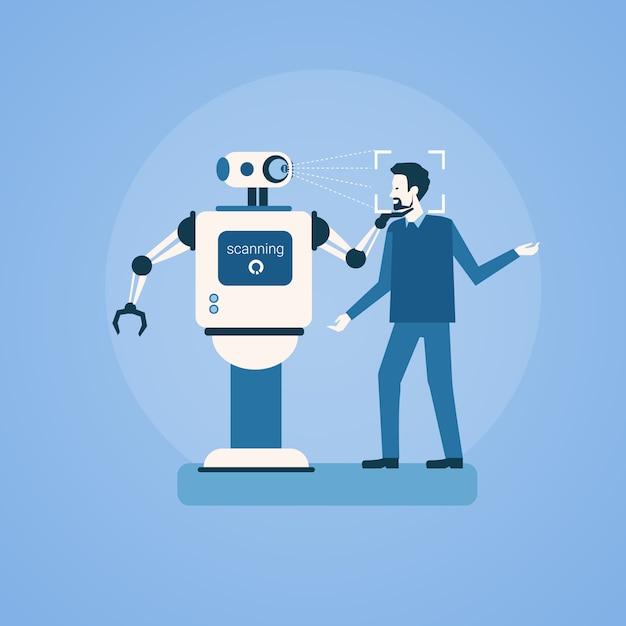 Skanowanie robota człowiek twarz identyfikacja biometryczna kontrola dostępu technologia system rozpoznawania Premium Wektorów