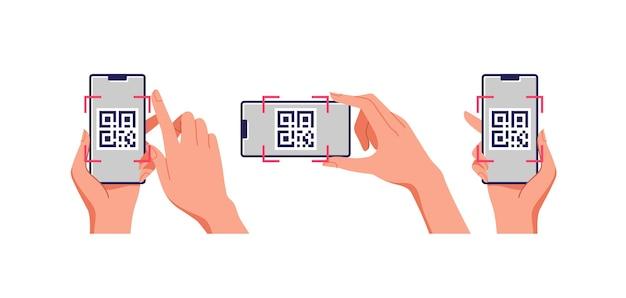 Skanowanie Telefonu Komórkowego Z Kodem Qr Na Ekranie. Koncepcja Biznesowa I Technologiczna. Premium Wektorów