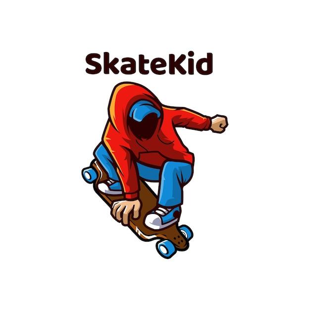 Skate Kid Skating Outdoor łyżwy Premium Wektorów