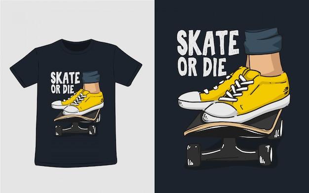 Skate Lub Die Typografia Ilustracja Do Projektowania T Shirt Premium Wektorów