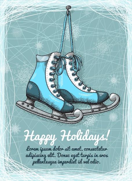 Skate święta Zimowe Zaproszenie Darmowych Wektorów