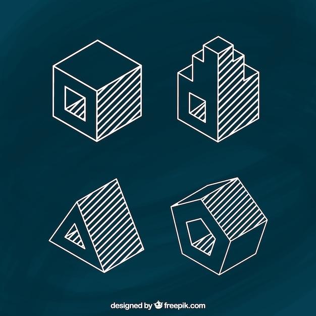 Sketchy 3d kształty Darmowych Wektorów