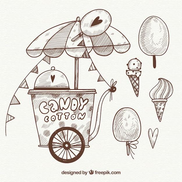 Sketchy Bawełniany Cukierek I Słodycze Darmowych Wektorów