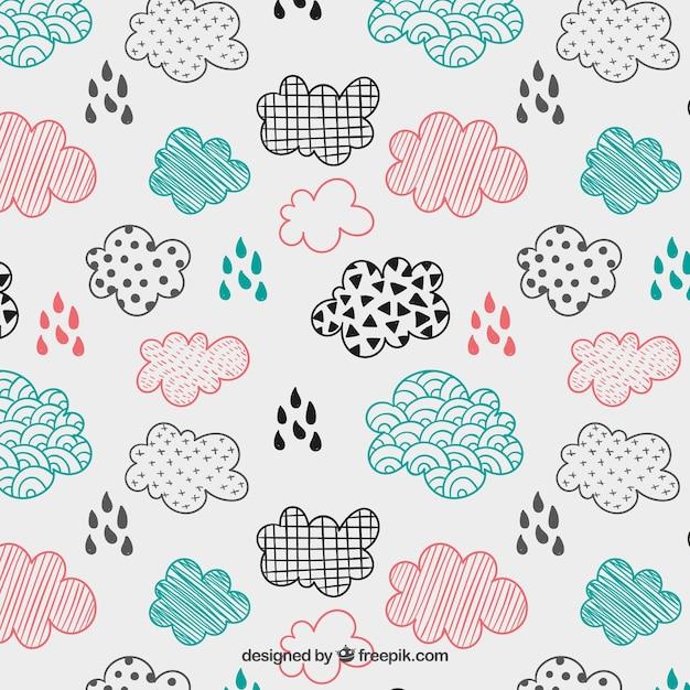 Sketchy chmury wzór Darmowych Wektorów