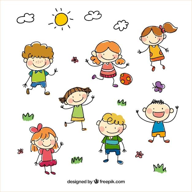 Sketchy dzieci Darmowych Wektorów