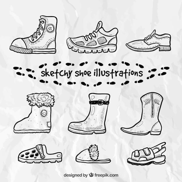 Sketchy ilustracje butów Darmowych Wektorów