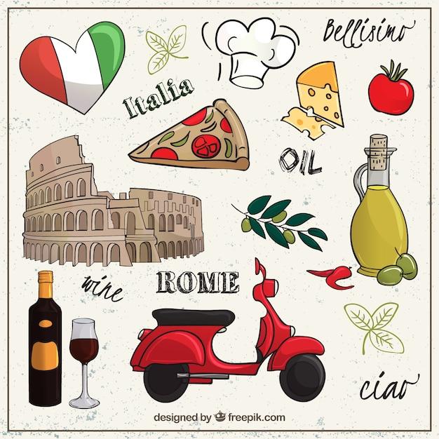 Sketchy Zbiór Elementów Rzymie Premium Wektorów