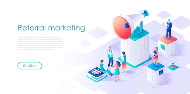 Skierowanie marketingowe izometryczny szablon strony docelowej Premium Wektorów