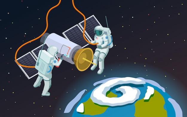 Skład astronautów w przestrzeni kosmicznej Darmowych Wektorów