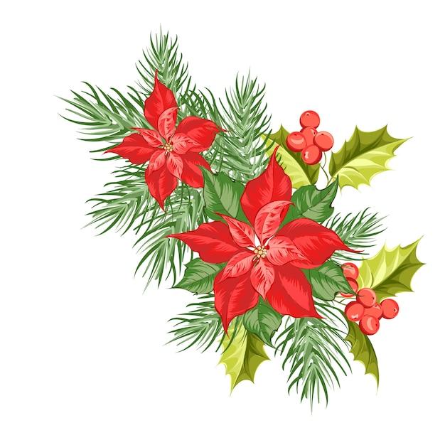 Skład Czerwony Poinsecja Kwiat Odizolowywający Nad Bielem. Premium Wektorów