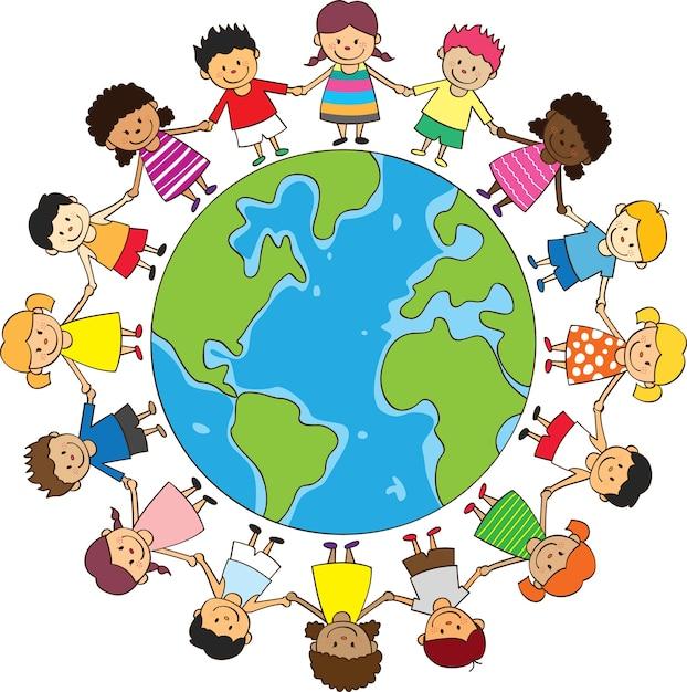 Skład Dzieci Premium Wektorów