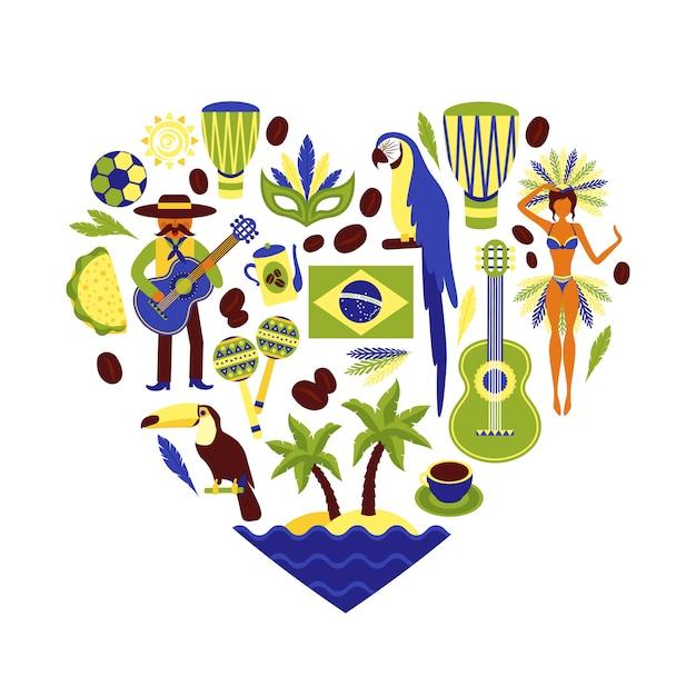 Skład elementu dekoracyjnego brazylii kształt serca Premium Wektorów