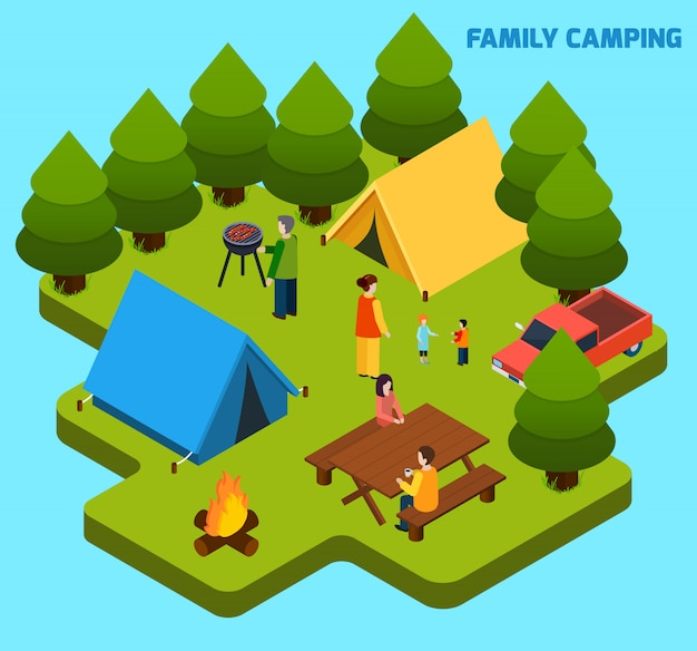 Skład Isometric Camping I Podróż Darmowych Wektorów