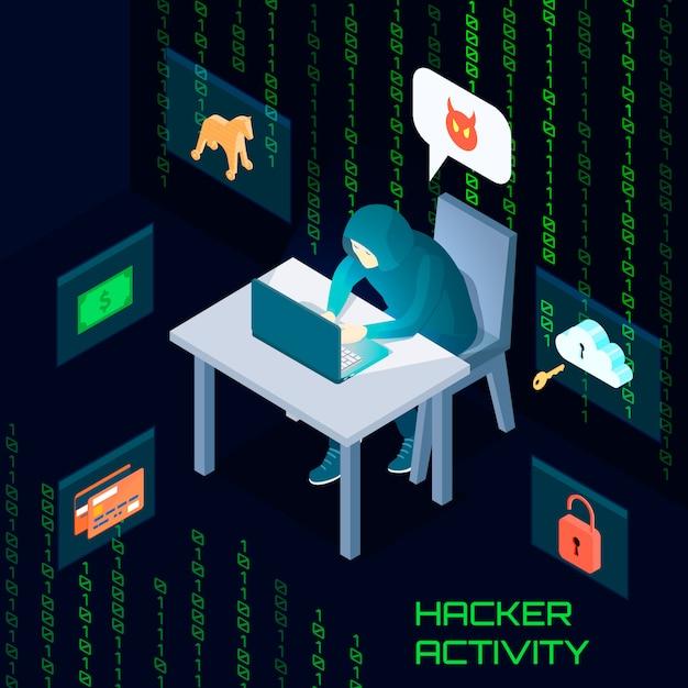 Skład izometryczny aktywności hakera Darmowych Wektorów