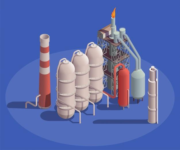 Skład Izometryczny Budynków Przemysłowych Z Widokiem Pojemników Zakładu Przerobu Ropy Naftowej Z Rurami I Lampą Flambeau Darmowych Wektorów