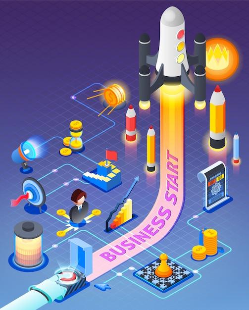Skład Izometryczny Business Start Darmowych Wektorów