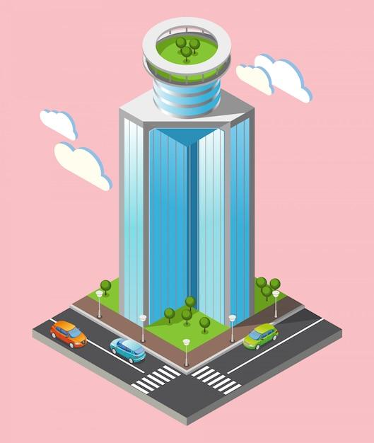 Skład Izometryczny Futurystyczne Wieżowce Z Częścią Miasta Z Drogami I Wysokimi Budynkami Na Różowym Tle Darmowych Wektorów