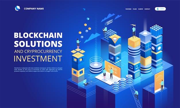 Skład Izometryczny Kryptowaluty I łańcucha Bloków. Tworzenie Platformy Cyfrowej Waluty. Premium Wektorów