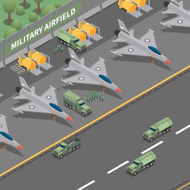 Skład Izometryczny Lotniska Wojskowego Reprezentujący Lądowanie Samolotów Towarowych, Zbiorniki Paliwa, Ciężarówki I żołnierza Darmowych Wektorów